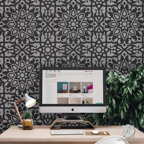 3d Geometric Shapes Wallpaper White Moroccan Stencils Moroccan Geometry Stencil Royal