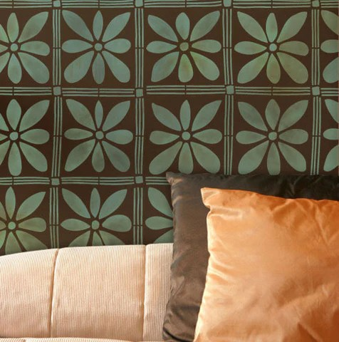 V Letter 3d Wallpaper Wall Stencil African Flower Stencil Royal Design Studio