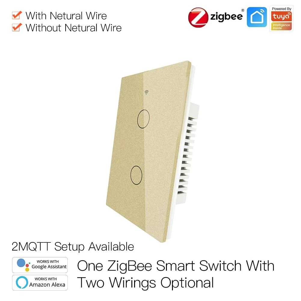 Zigbee Wall Touch Smart Light Switch No Capacitor Needed Neutral Wire No Neutral Wire Smart Life Tuya 2 3 Way Muilti Control Association Hub Required 2 Gang Gold Moes