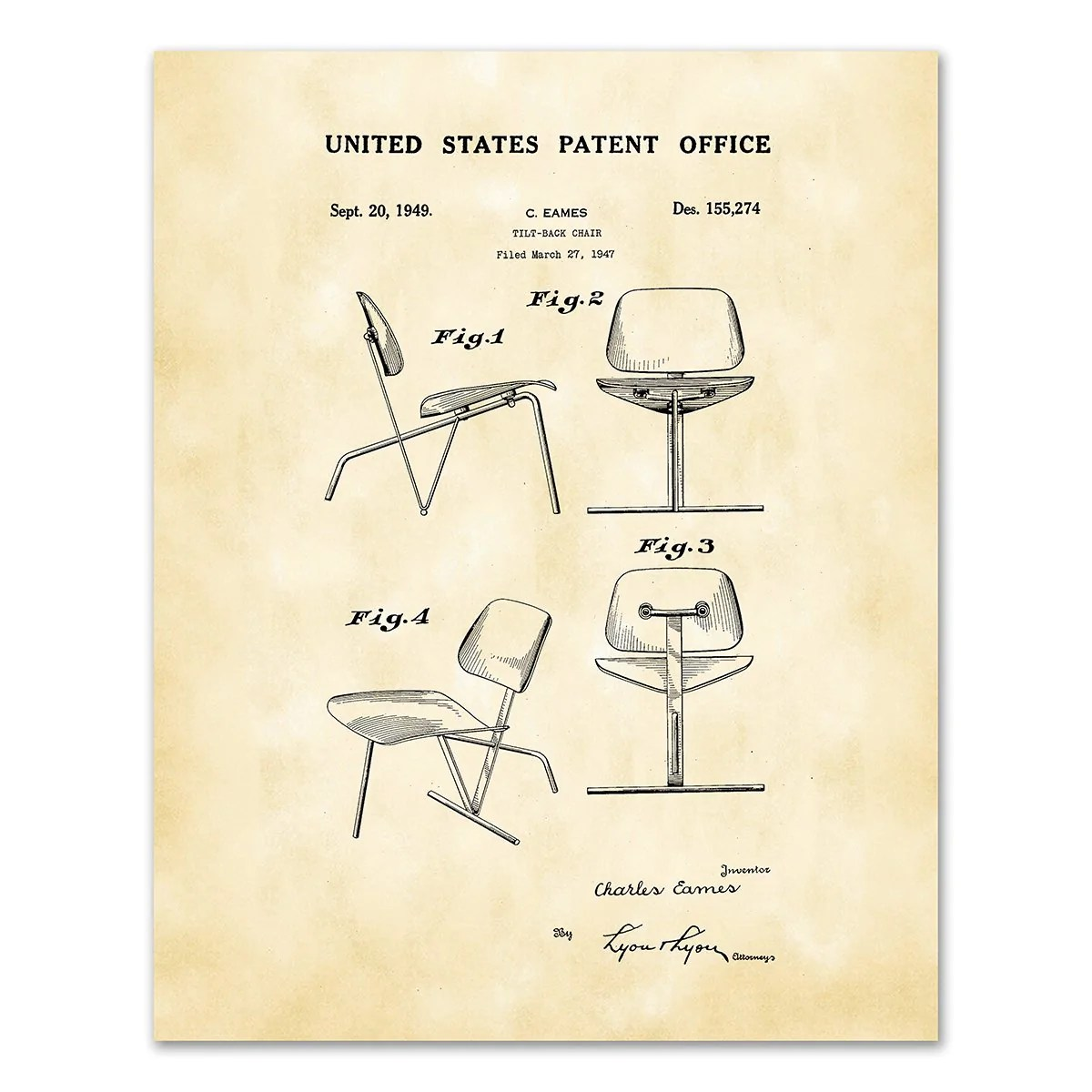 Eames Chair Patent Patent Drawing Ds155274 Tilt Back Chair By Charles Eames