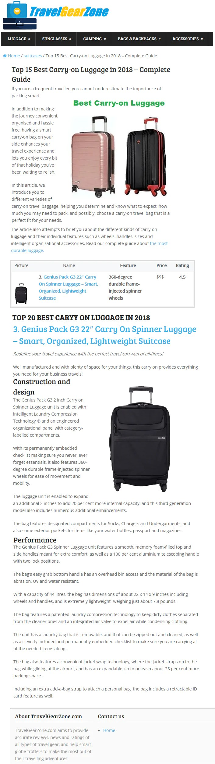 2018 Travel Gear Best Carry On Luggage In 2018 Travel Gear Zone Genius Pack