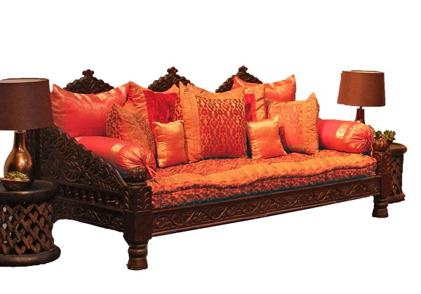 Sofa 84 Inch Indian Carved Jhula Sofa Daybed - Indoor Or Outdoor At