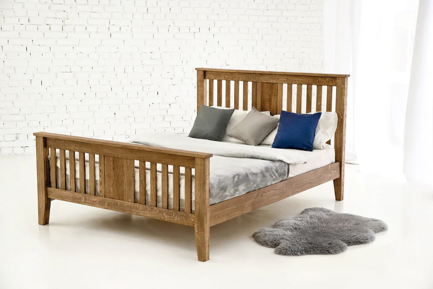 Double Size Bed Rustic Solid Oak Bed 4ft6 Double