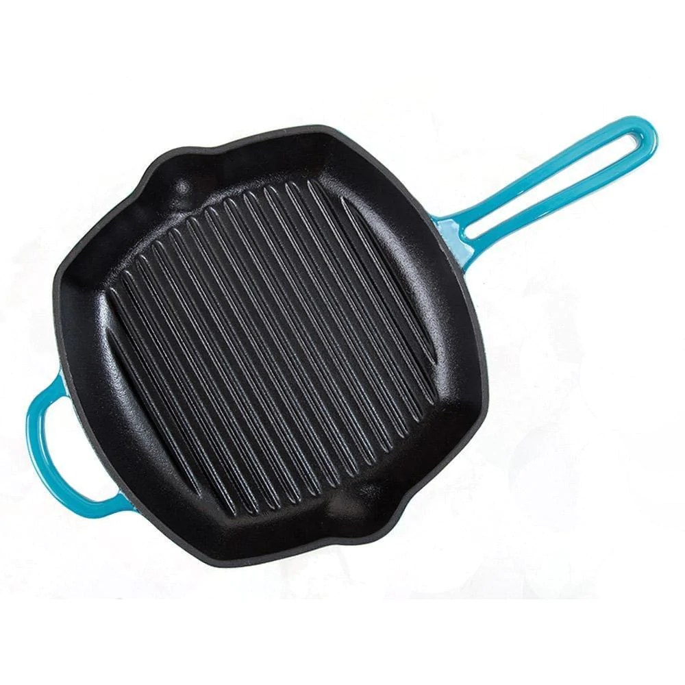 Grill Frying Pan Wonderchef Ferro Cast Iron 26cm Grill Pan Blue
