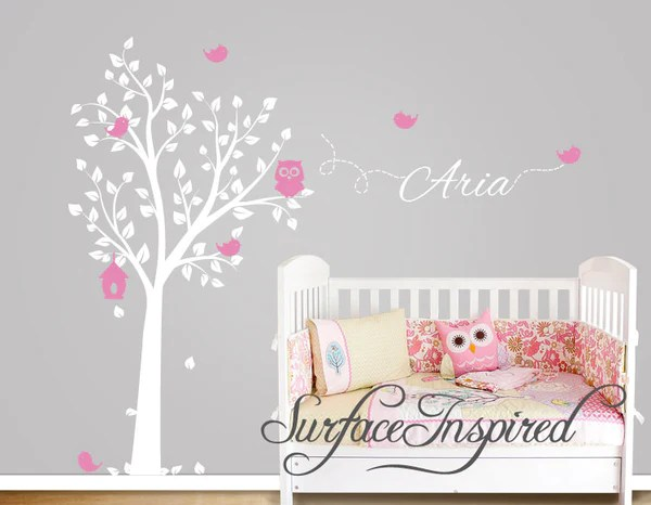 Wandtattoo Kinderzimmer Baum Tiere Aria Owl Tree Wall Decal With Birds And Custom Name