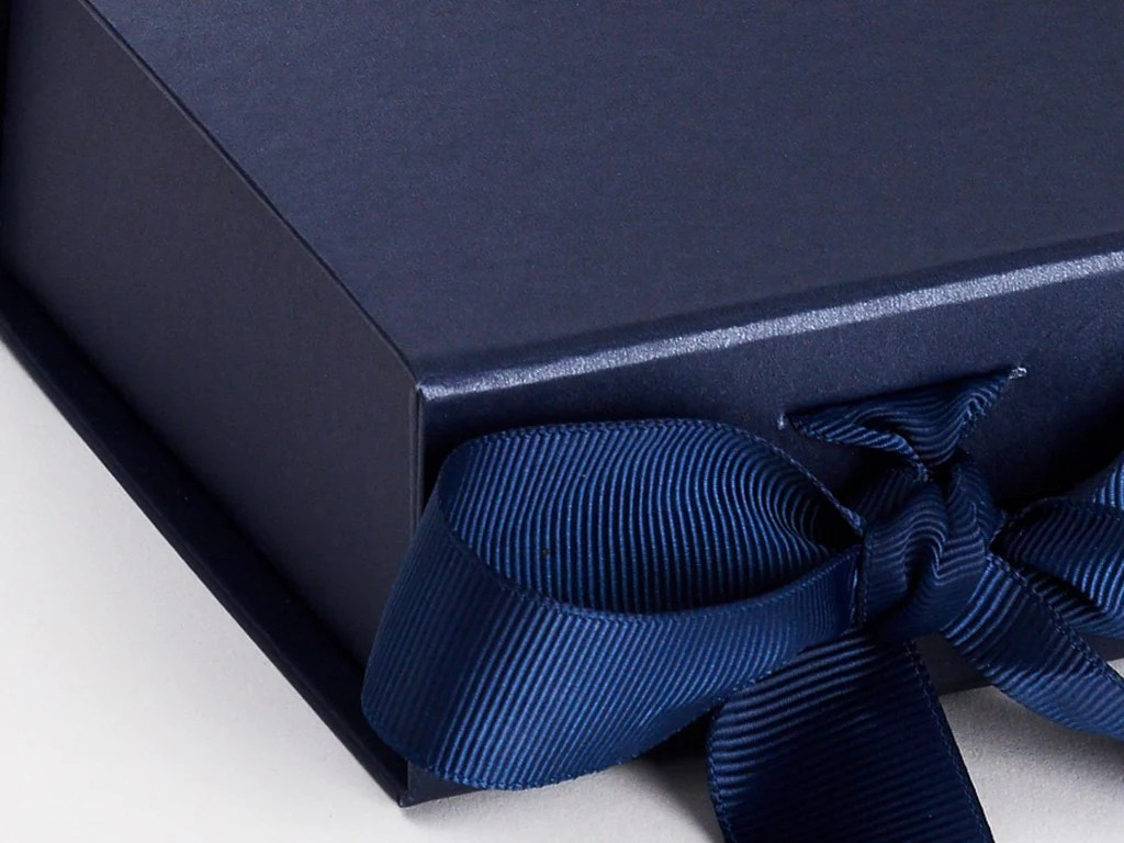Wholesale Jewelry Packaging Navy Blue Small Gift Boxes With Fixed Grosgrain Ribbon