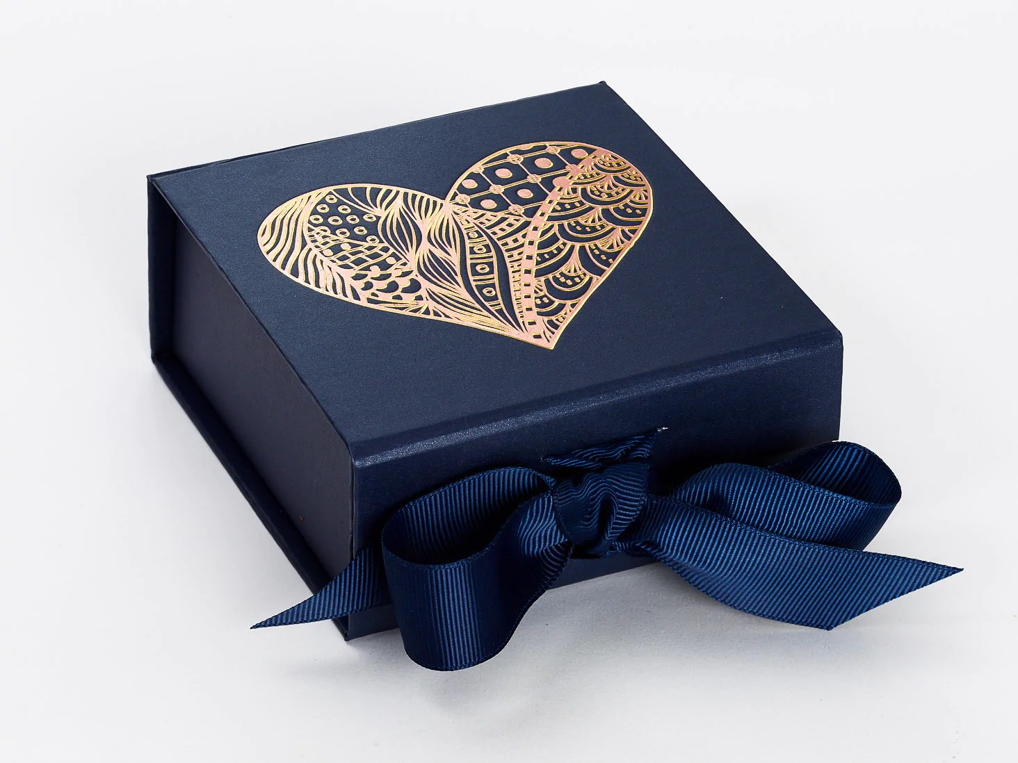 Gift Box Navy Blue Small Gift Boxes With Fixed Grosgrain Ribbon