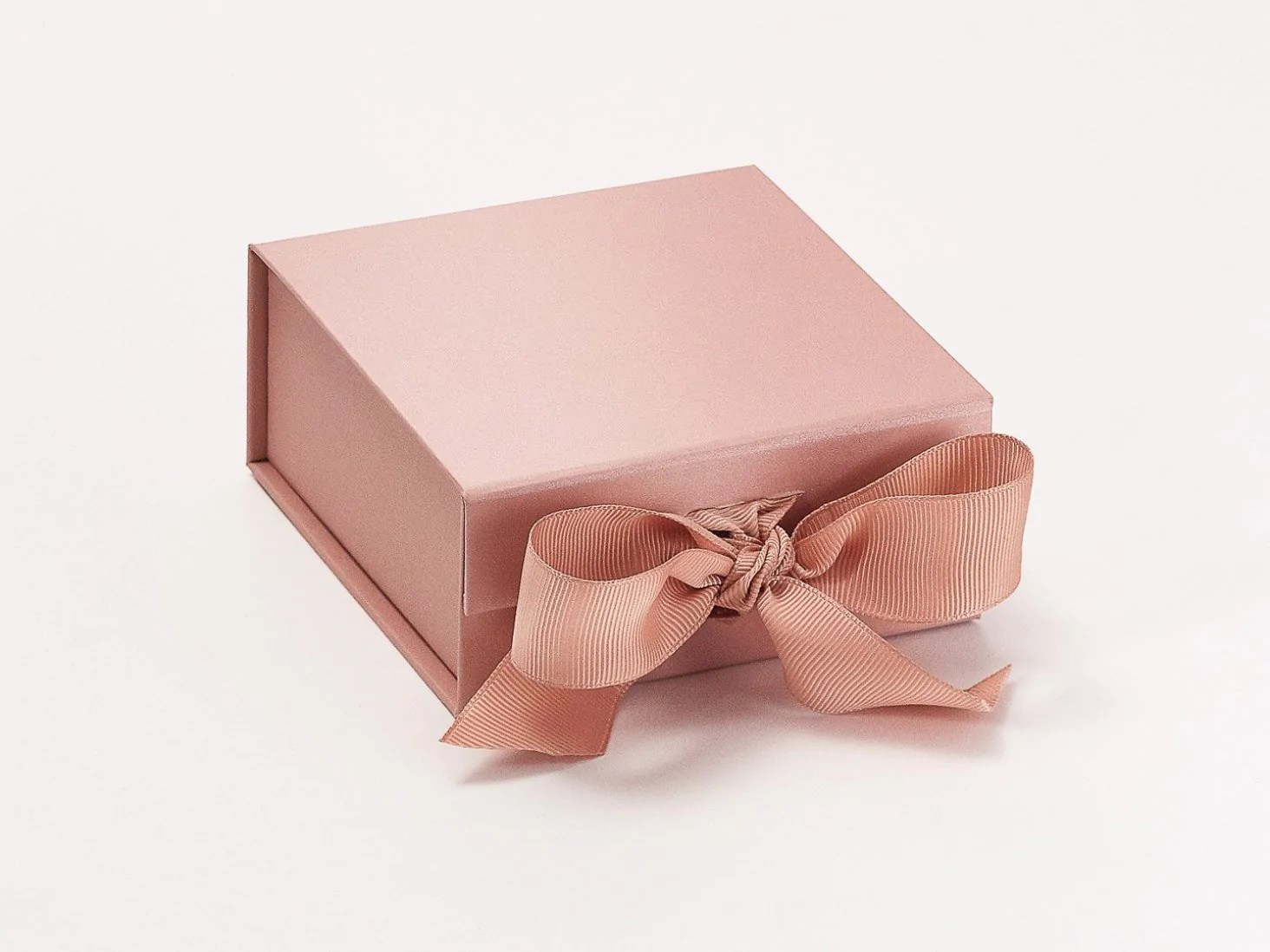 Wholesale Jewelry Packaging Rose Gold Small Gift Boxes With Fixed Grosgrain Ribbon