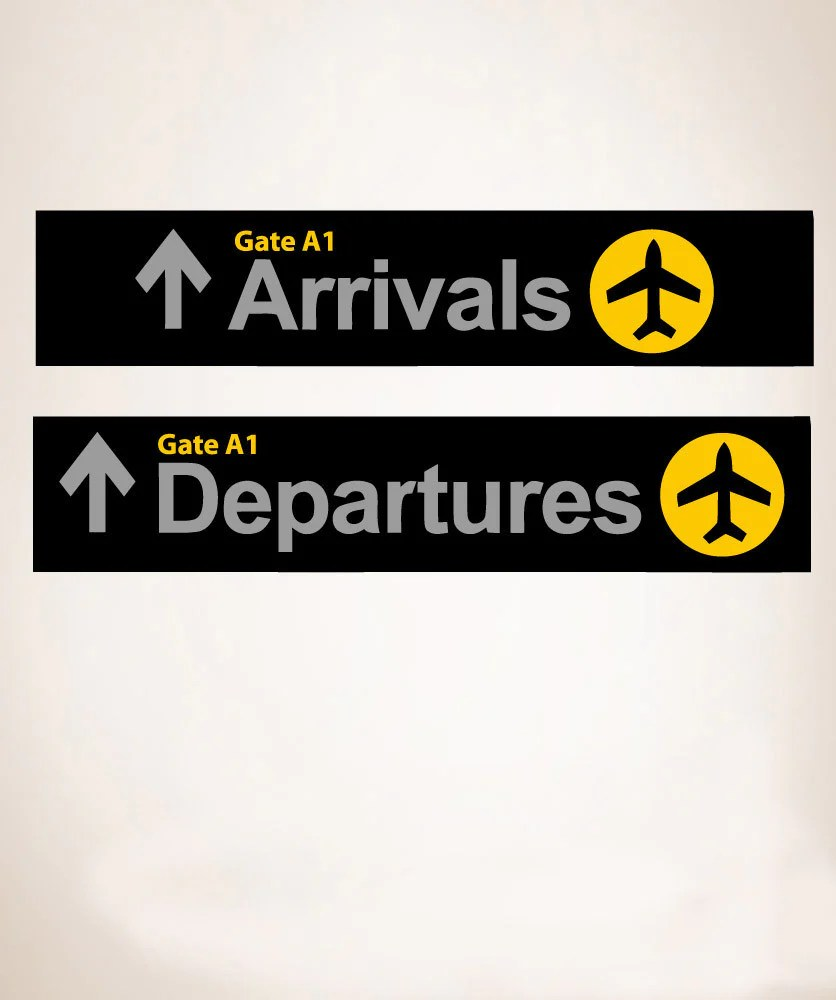 Airport Wall Stickers | Arrival Departure Sign | StickerBrand