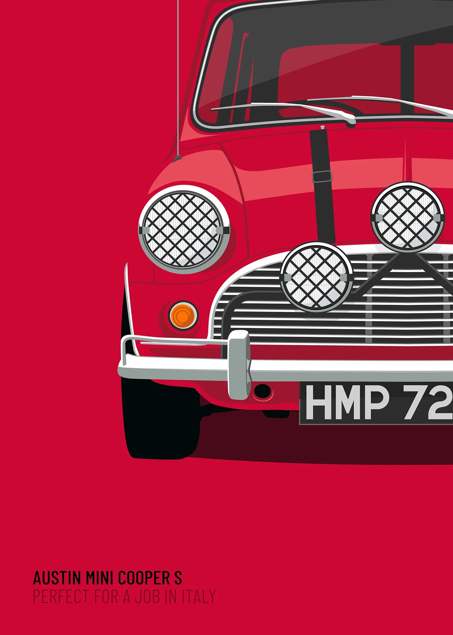 Poster Red 1969 Mini Cooper S Italian Job Red Limited Edition Poster