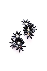 Statement Black Floral Clip-on Earrings | 1960s Vintage ...