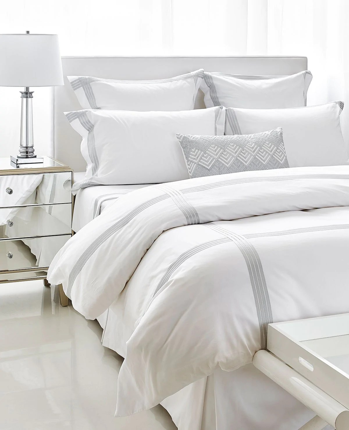 Satin Duvet Cover Sorbe White Pearl Grey
