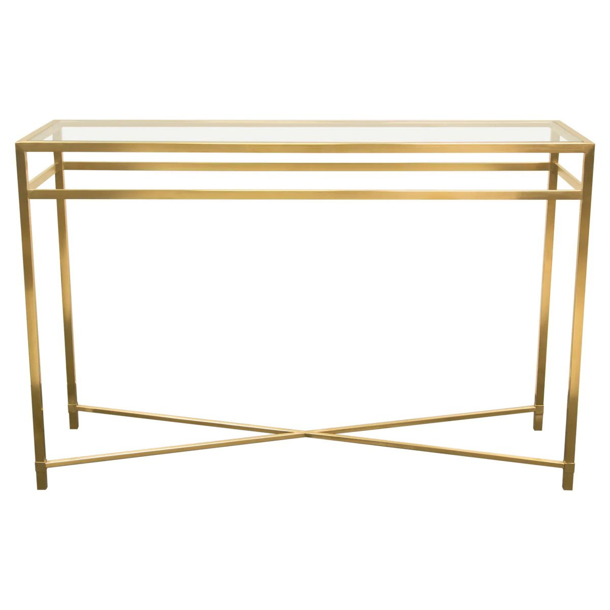 Glass Top Console Table Croft Rectangular Console Table With Clear Glass Top And Brushed Gold Base