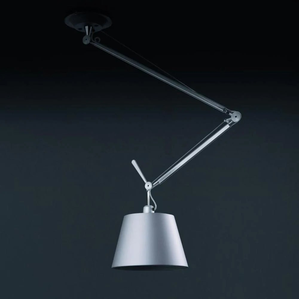 Artemide Suspension Tolomeo Off Center Silver Fiber Shade Suspension By Artemide