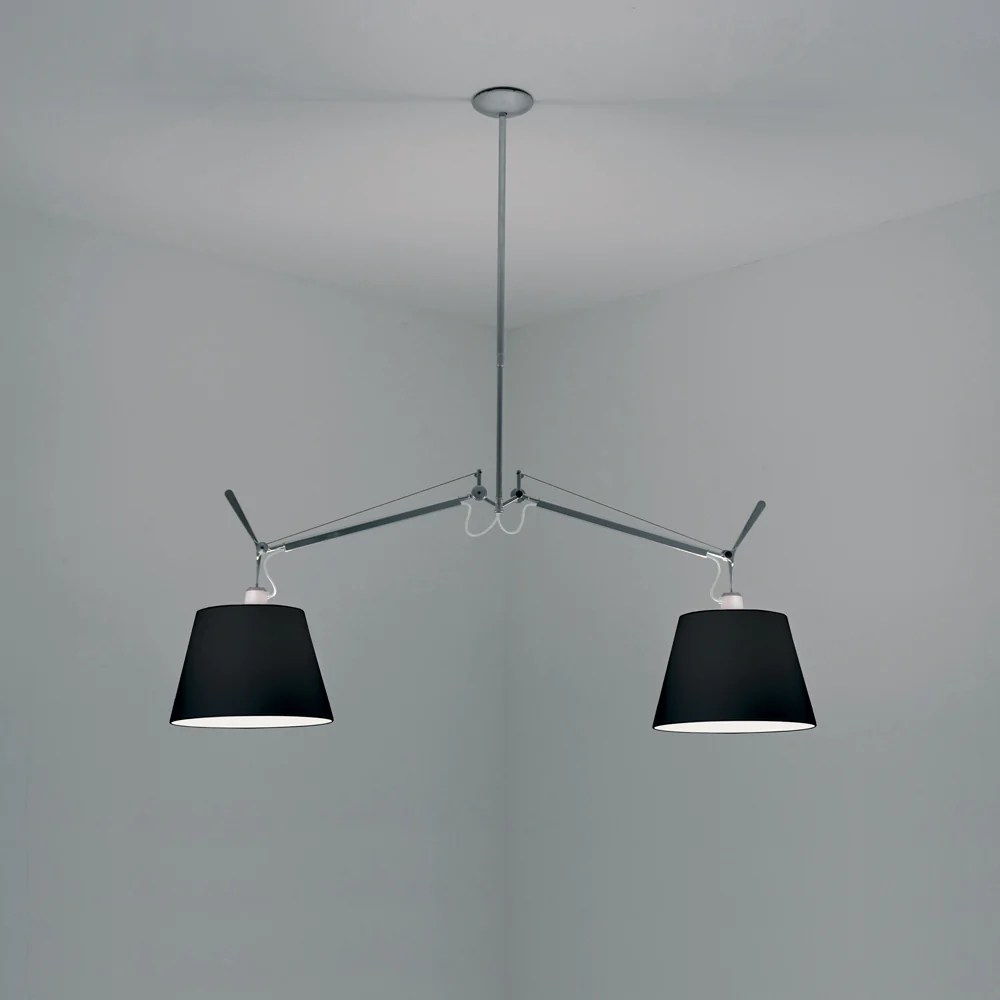 Artemide Suspension Tolomeo Double Black Fabric Shade Suspension By Artemide