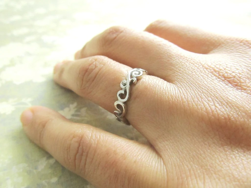 scroll ring wedding band 18k white gold ring filigree ocean waves hand sculpted one of a kind custom personalized engraved filigree wedding band Scroll Ring Wedding Band 18K White Gold Ring Filigree Ocean Waves Hand Sculpted One of a Kind Custom Personalized Engraved