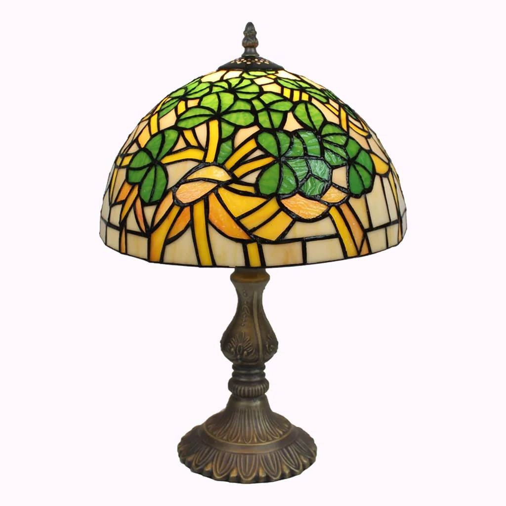 Glass Lamp Tables Ireland Shamrock Stained Glass Shamrock Tiffany Table Lamp Memory Lane Lamps