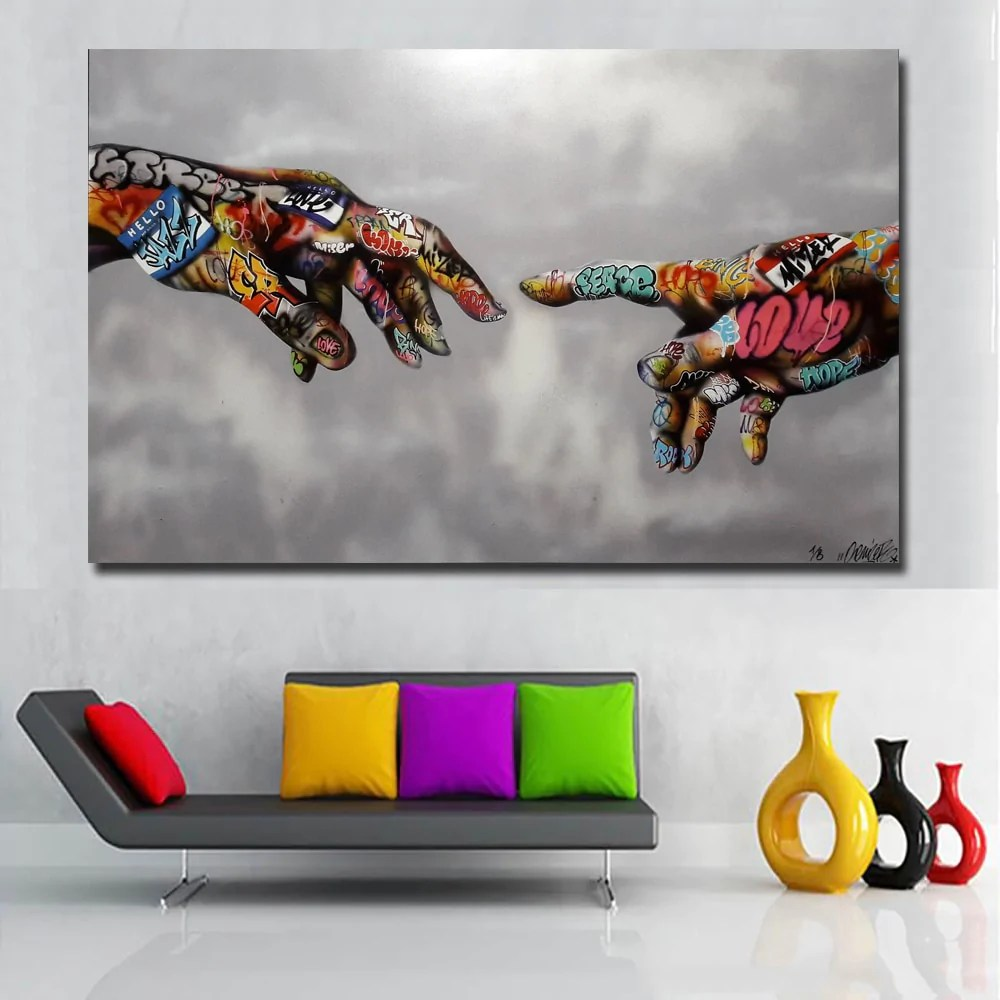 Wall Art Prints And Posters Selflessly Classic Street Art Graffiti Painting Abstract Colorful Hands Pictures Wall Art Prints Posters For Living Room