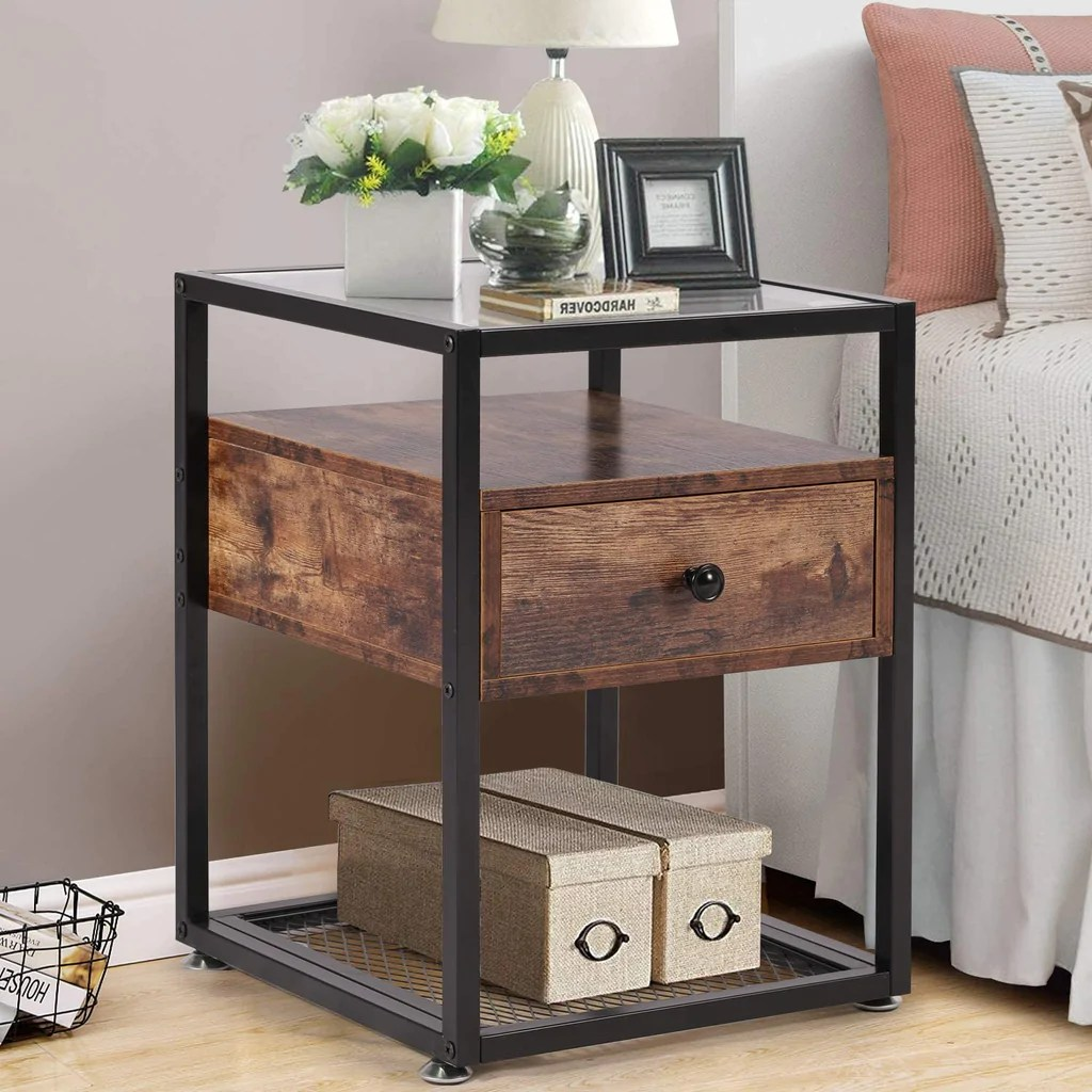 Tempered Glass End Table Cabinet With Drawer And Rustic Shelf Decoration In Living Room Bedroom Lounge Vecelo