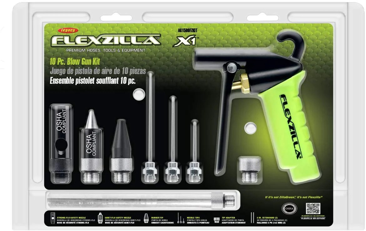 Flexzilla X1 10 Piece Blow Gun Kit Quiet Flo Tip Xtreme Flo Tip Rub Mpr Tools Equipment