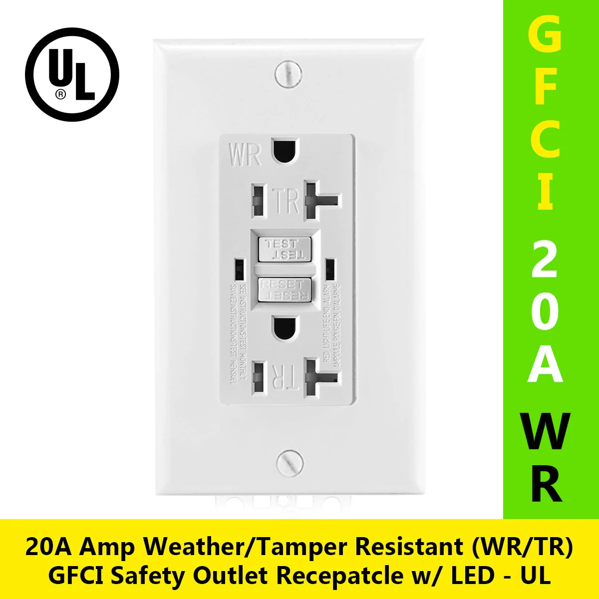 Test Alarme 20a Tamper Resistant Weather Resistant Tr Wr Gfci Outlet W Wallplate
