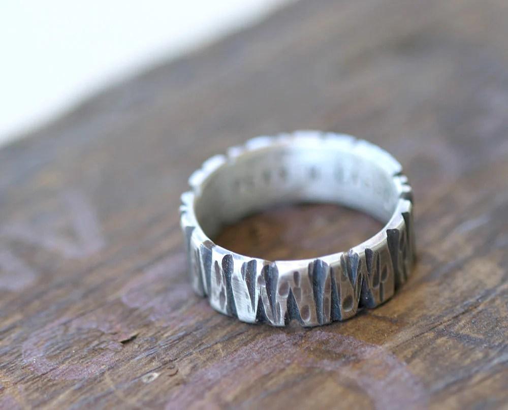 tree bark mens wedding ring 14k gold mens wedding ring Tree bark mens wedding ring 14k gold