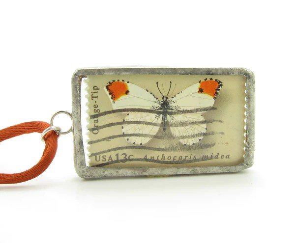 Soldered Glass Pendant With Butterfly Postage Stamps