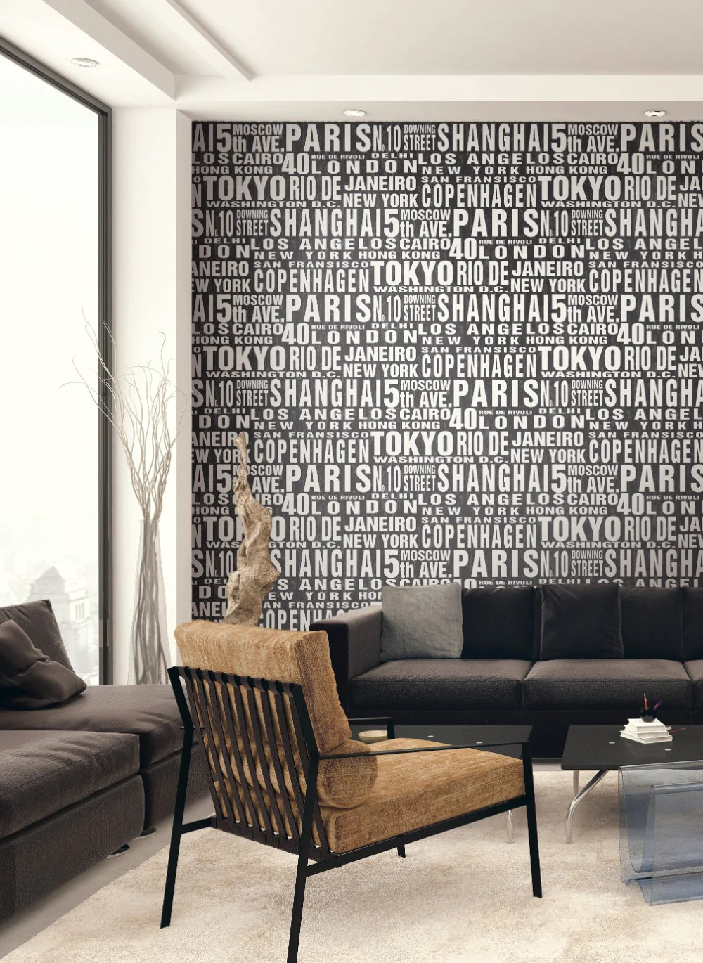 Around The World Peel-and-Stick Wallpaper in Black and White by NextWa – BURKE DECOR