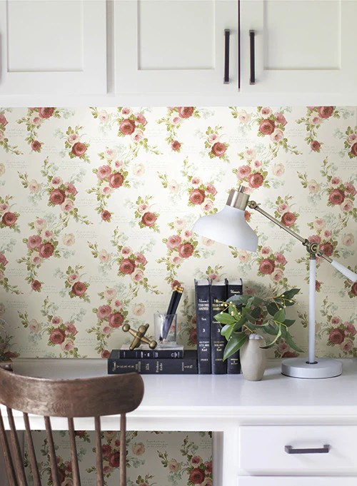 Heirloom Rose Wallpaper in Red and White from the Magnolia Home Collec – BURKE DECOR