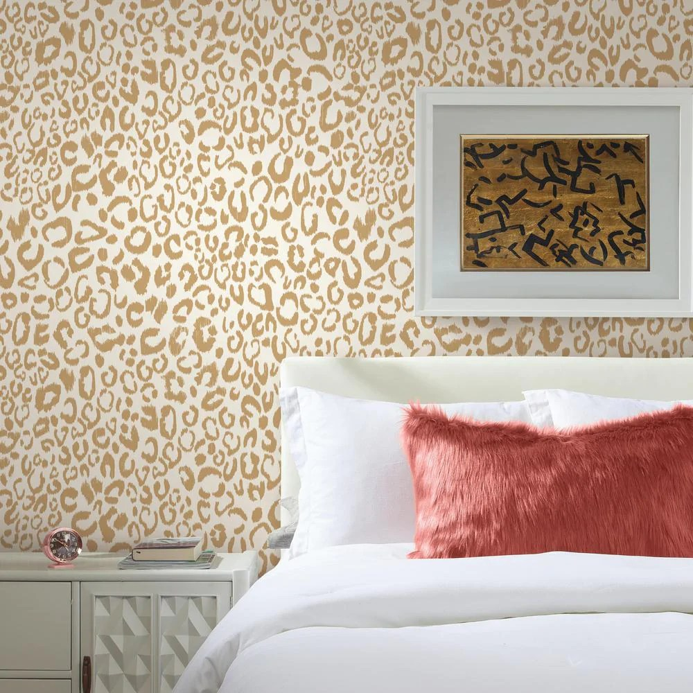 Leopard Peel & Stick Wallpaper in Gold by RoomMates for York Wallcover – BURKE DECOR
