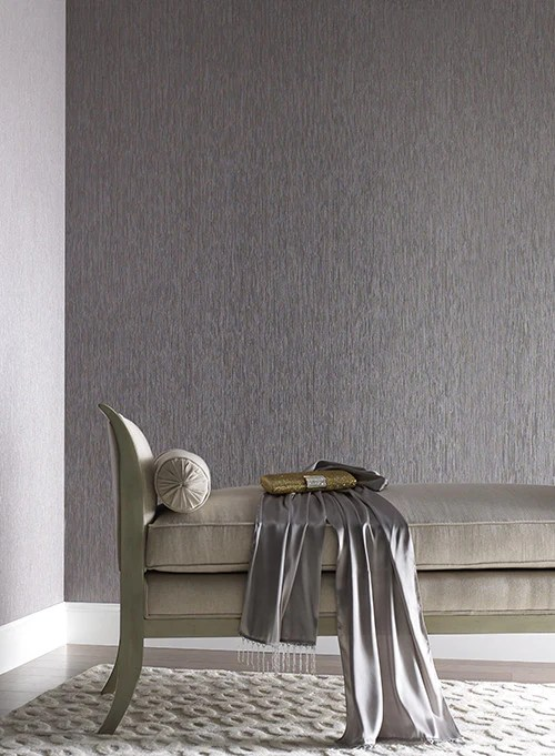 Charcoal Grey Seagrass Faux Grasscloth Wallpaper In Pale Grey By York
