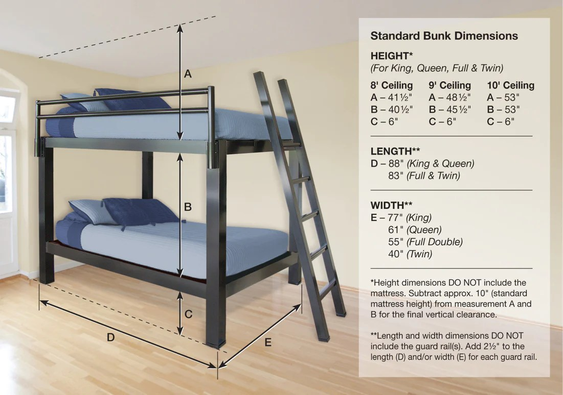 Bunk Bed Dimensions Bunk Bed For Adults Francis Lofts And Bunks