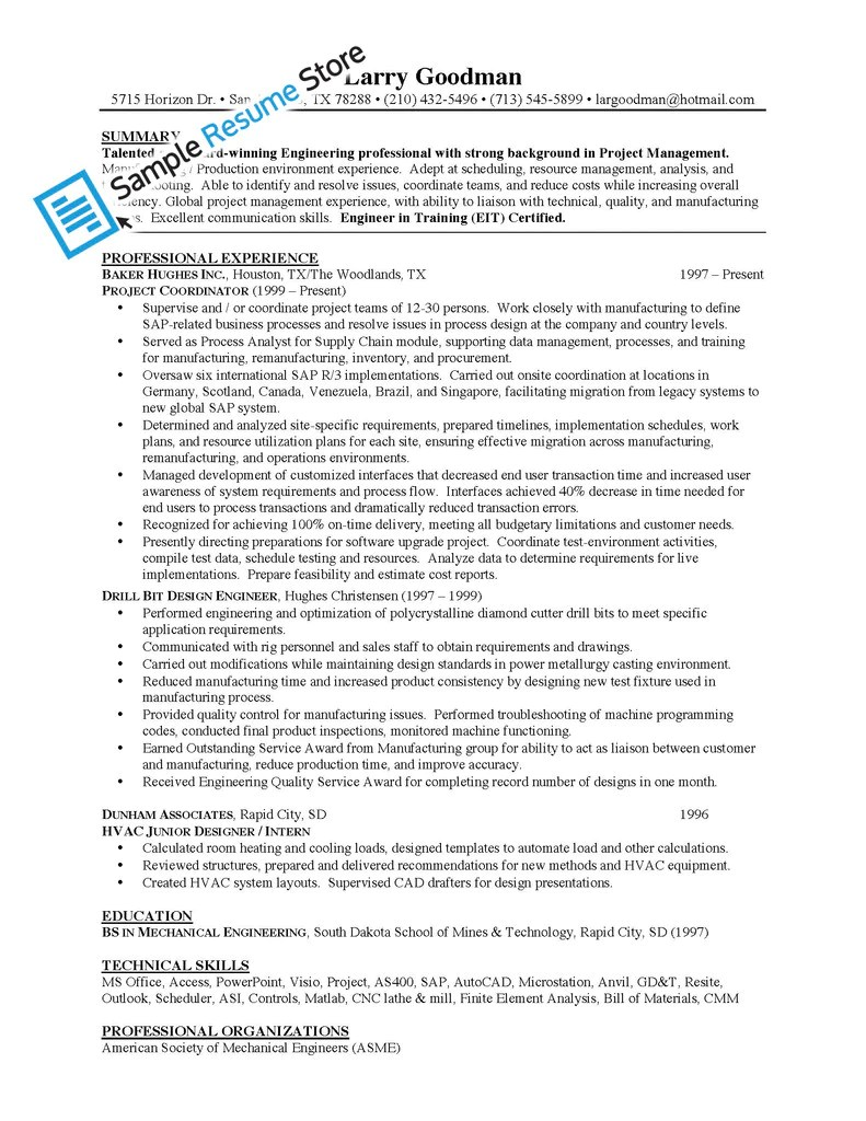 sample resume for mechanical engineer fresher sample resume