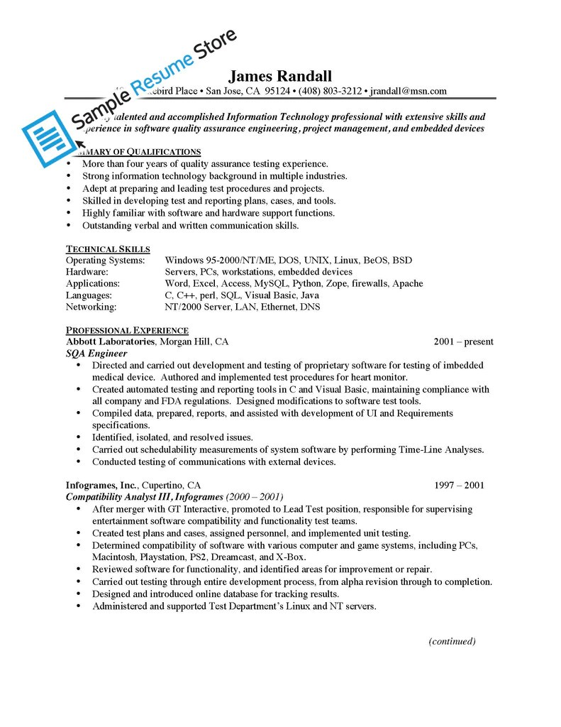 Resume Of Senior Qa Engineer | Sample Customer Service Resume
