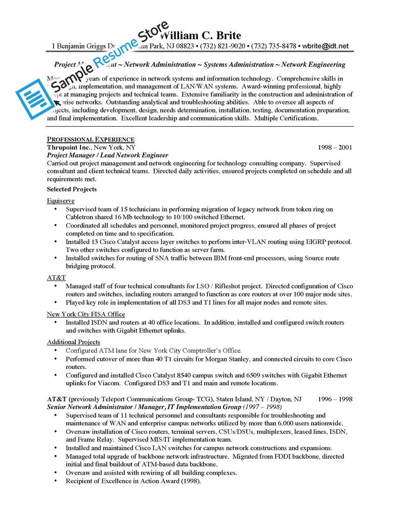 Network Engineer Resume Example
