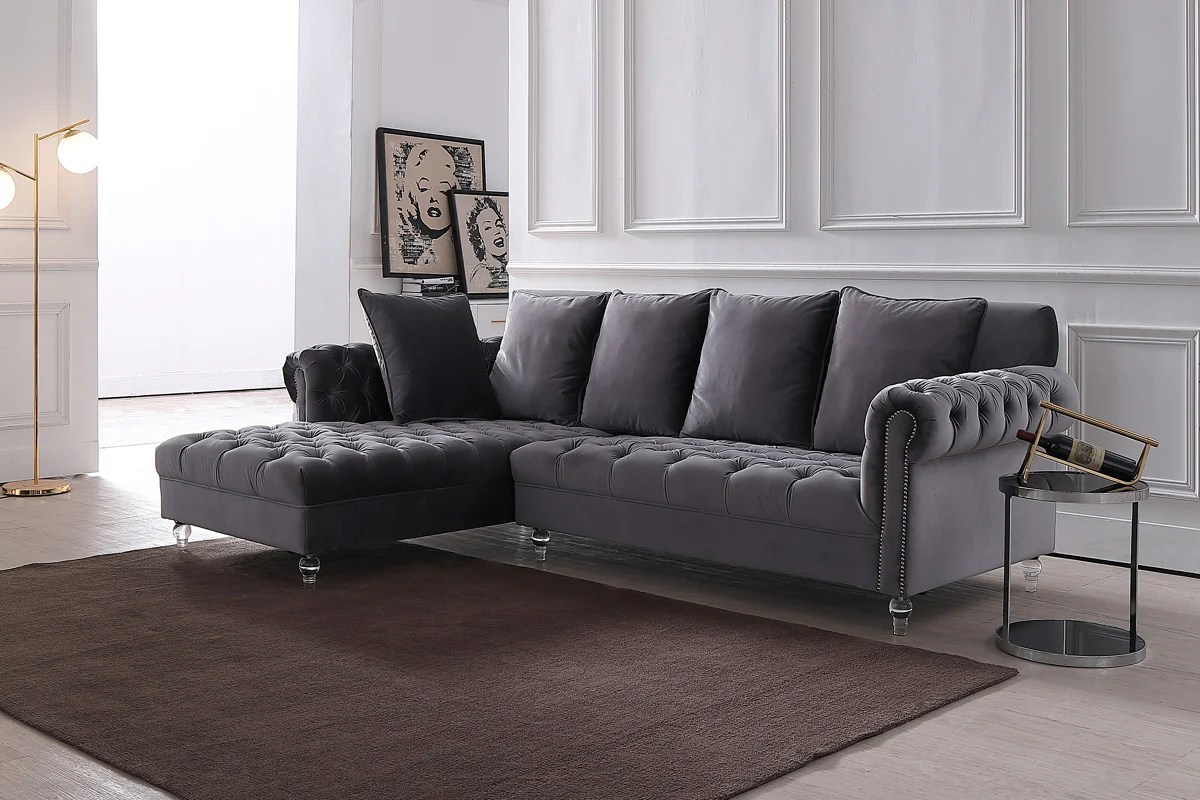 Living Divani Sofa Price Vig Furniture Vg2t1127 96a Divani Casa Temple Modern Grey Velvet Sectional Sofa Sale At Contemporary Furniture Warehouse Today Only