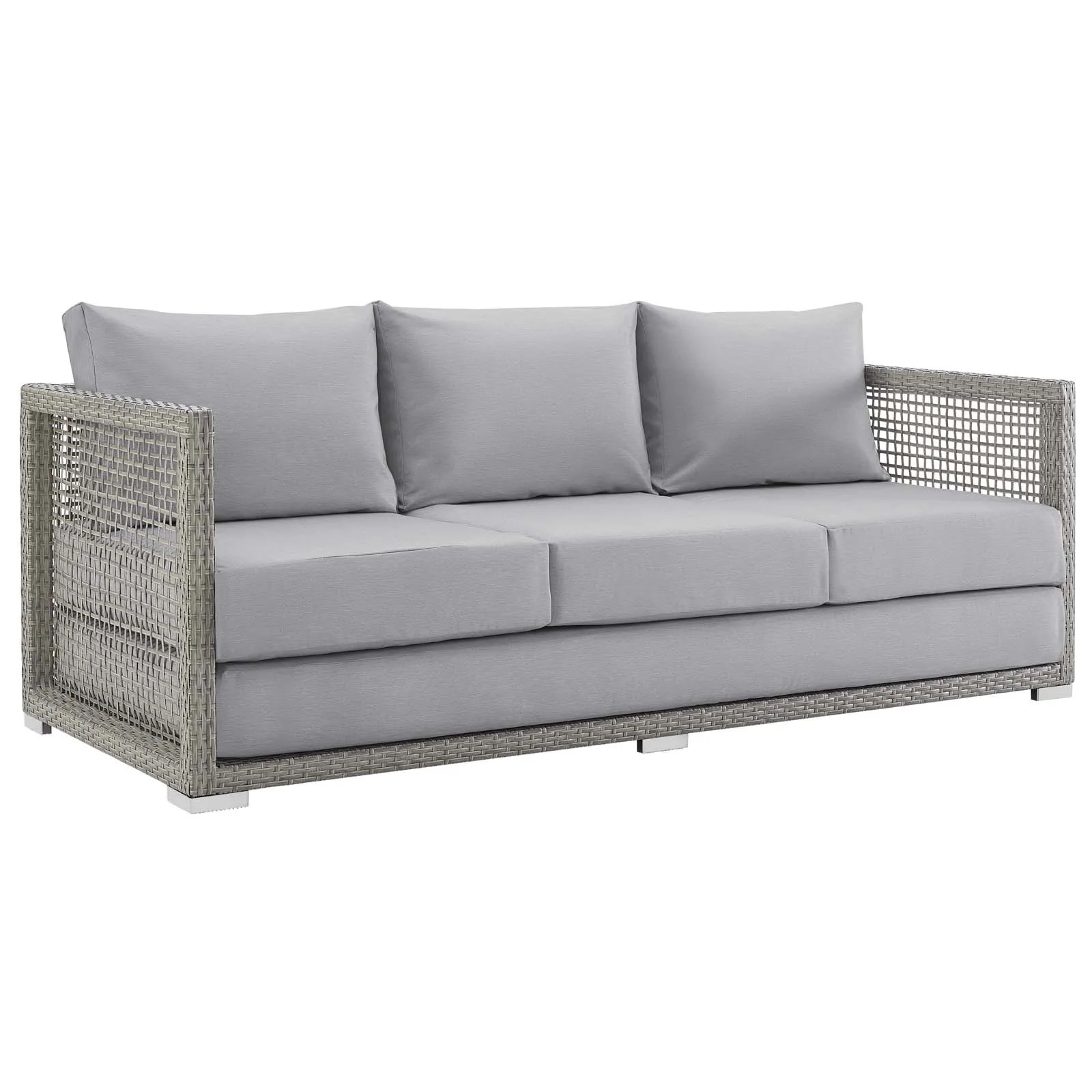 Rattan Twin Sofa Buy Modway Eei 2923 Gry Gry Aura Outdoor Patio Wicker Rattan Sofa At Contemporary Furniture Warehouse