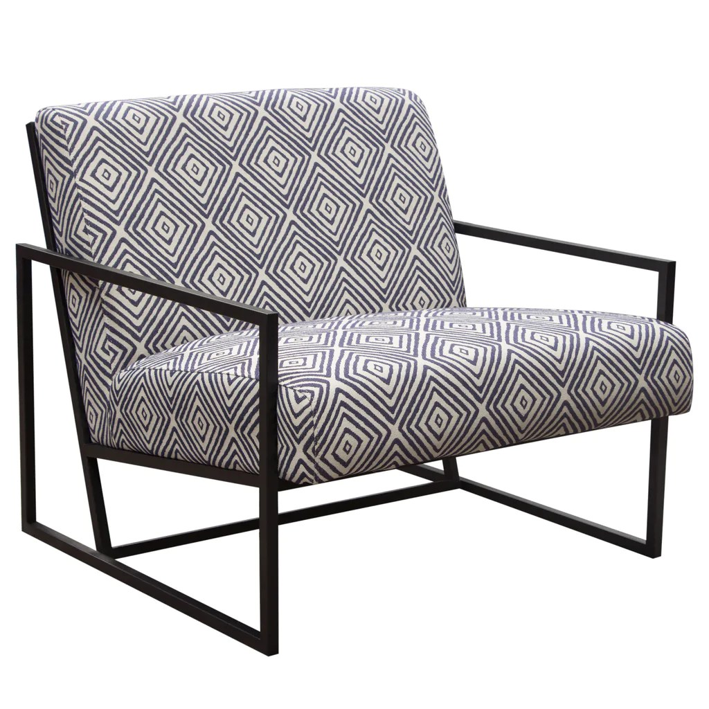 Black And White Accent Chair Luxe Accent Chair In Navy White Geo Pattern Fabric With Black Powder Coat Frame