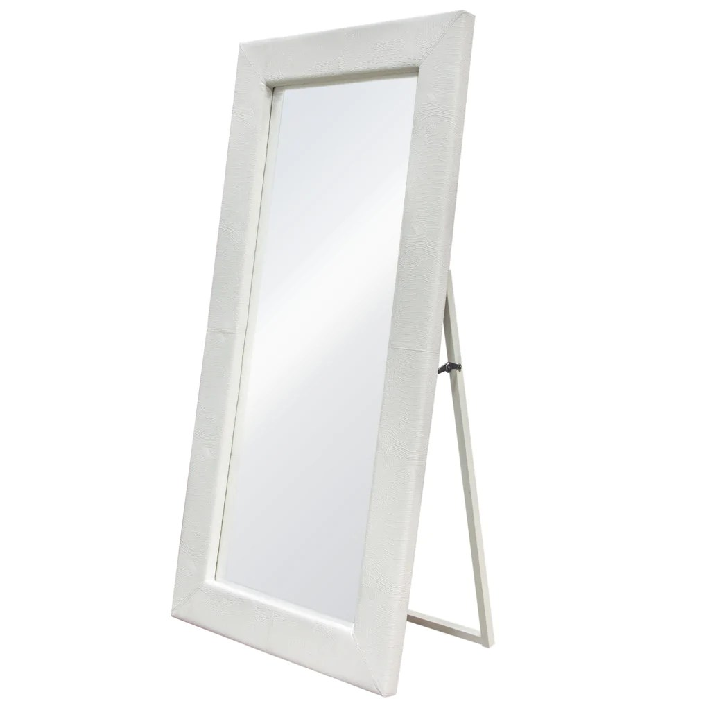 Standing Mirror Luxe Free Standing Mirror W Locking Easel Mechanism In White Croc Pu