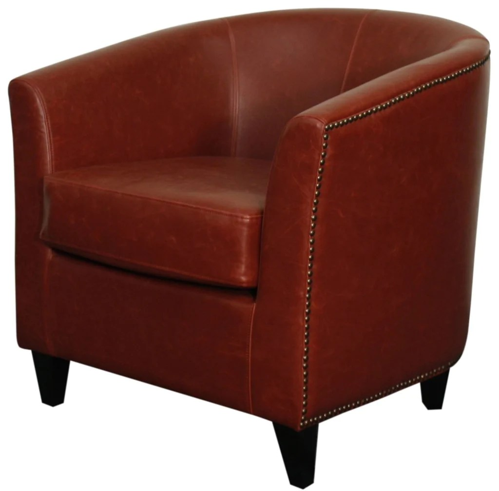 Tub Chairs Orson Bonded Leather Tub Chair Black Legs Vintage Red