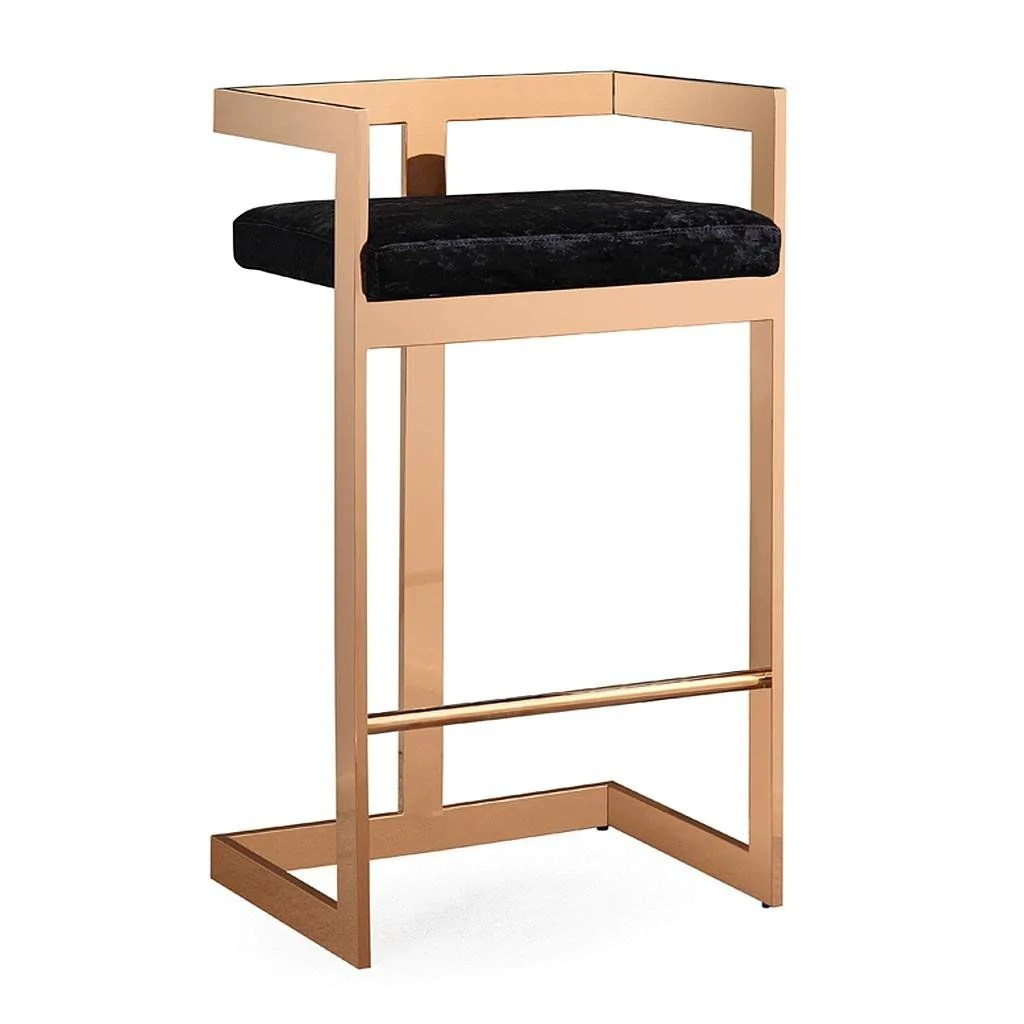 Bar Stool Chairs Buy Tov Furniture Tov G5475 Marquee Black Velvet Gold Bar Stool At Contemporary Furniture Warehouse