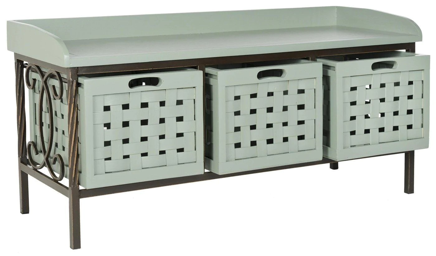 Wooden Storage Bench Safavieh Isaac 3 Drawer Wooden Storage Bench Dusty Green At Contemporary Furniture Warehouse