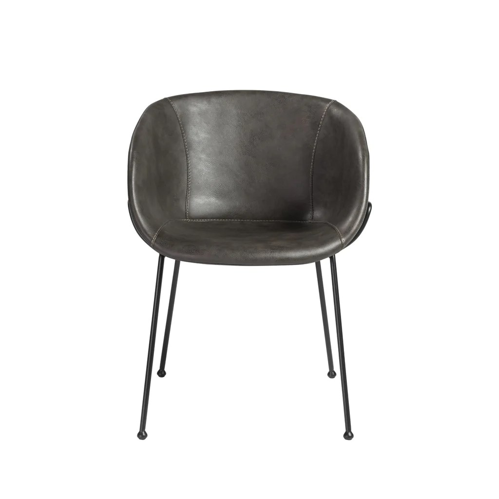 Arm Chairs Zach Arm Chair With Dark Gray Leatherette And Matte Black Powder Coated Steel Frame And Legs Set Of 2