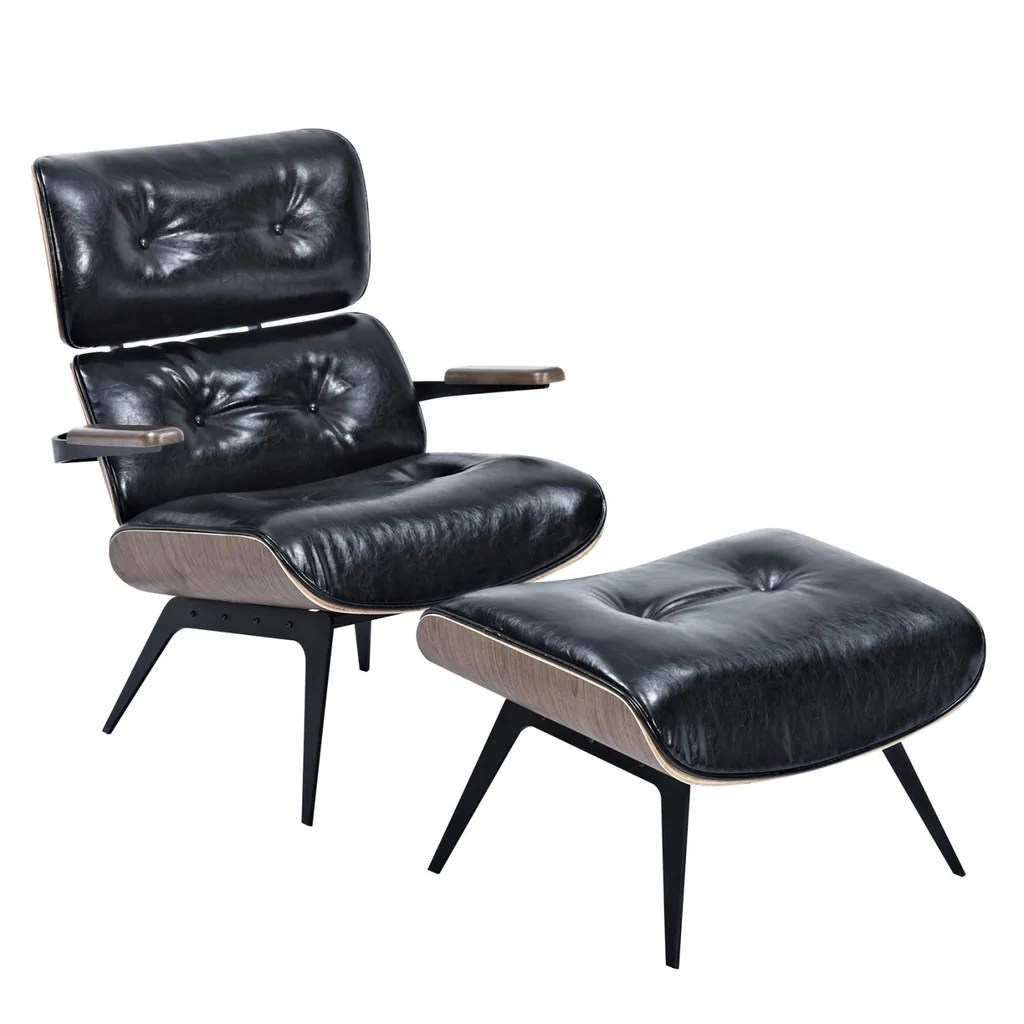 Eames Ottoman Eames Inspired Lounge Chair And Ottoman Milano Black Leatherette