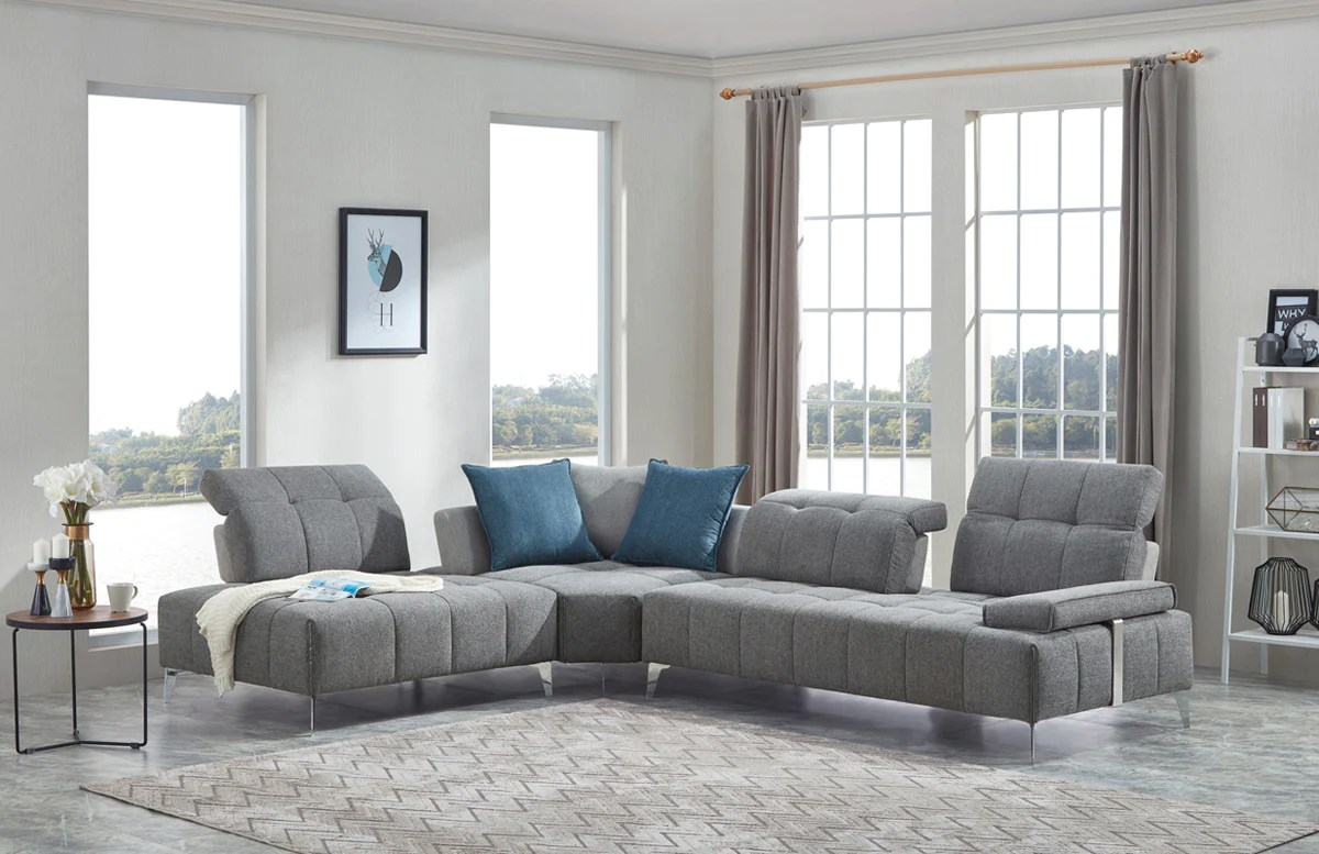 Divani & Divani Furniture Vig Furniture Vgmb 1808 Gry Divani Casa Nash Modern Contemporary Grey Tufted Fabric Sectional Sofa W Adjustable Backrest Sale At Contemporary