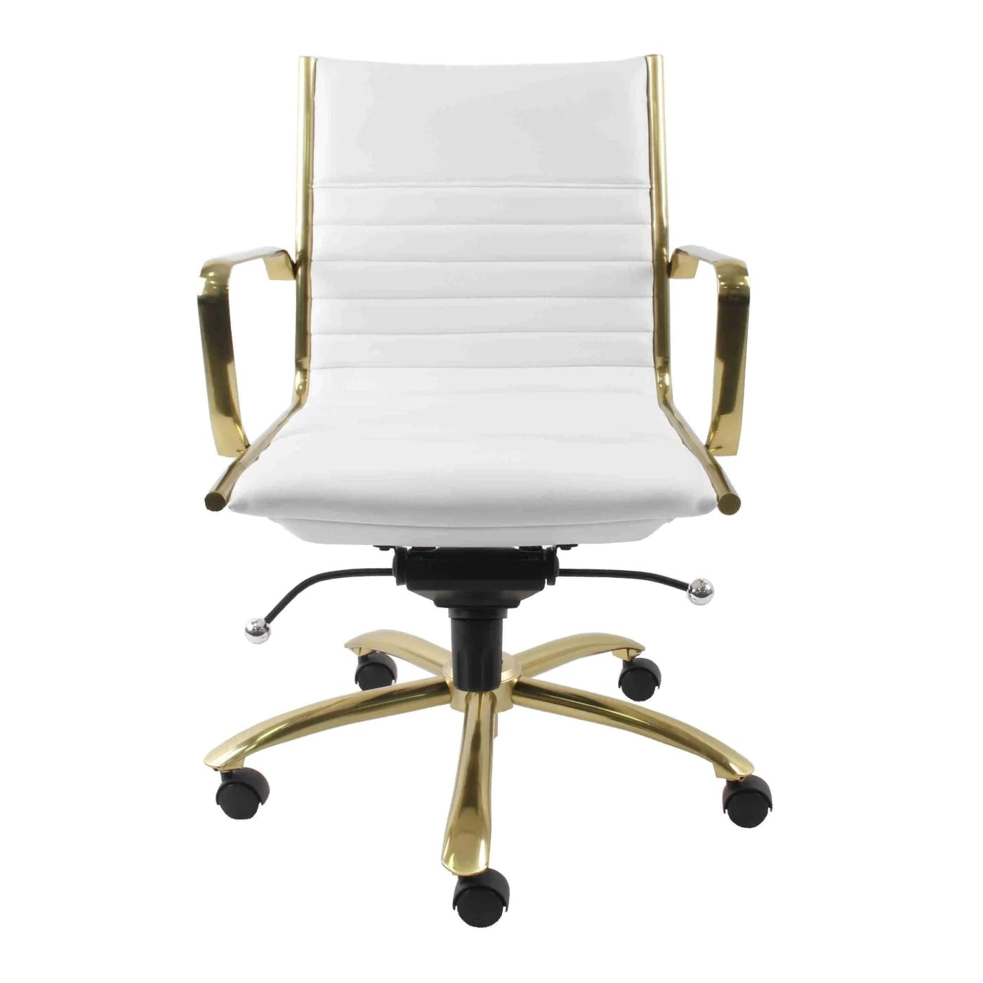 White And Gold Desk Chair Buy Euro Style Euro 10674wht Dirk Low Back Office Chair In