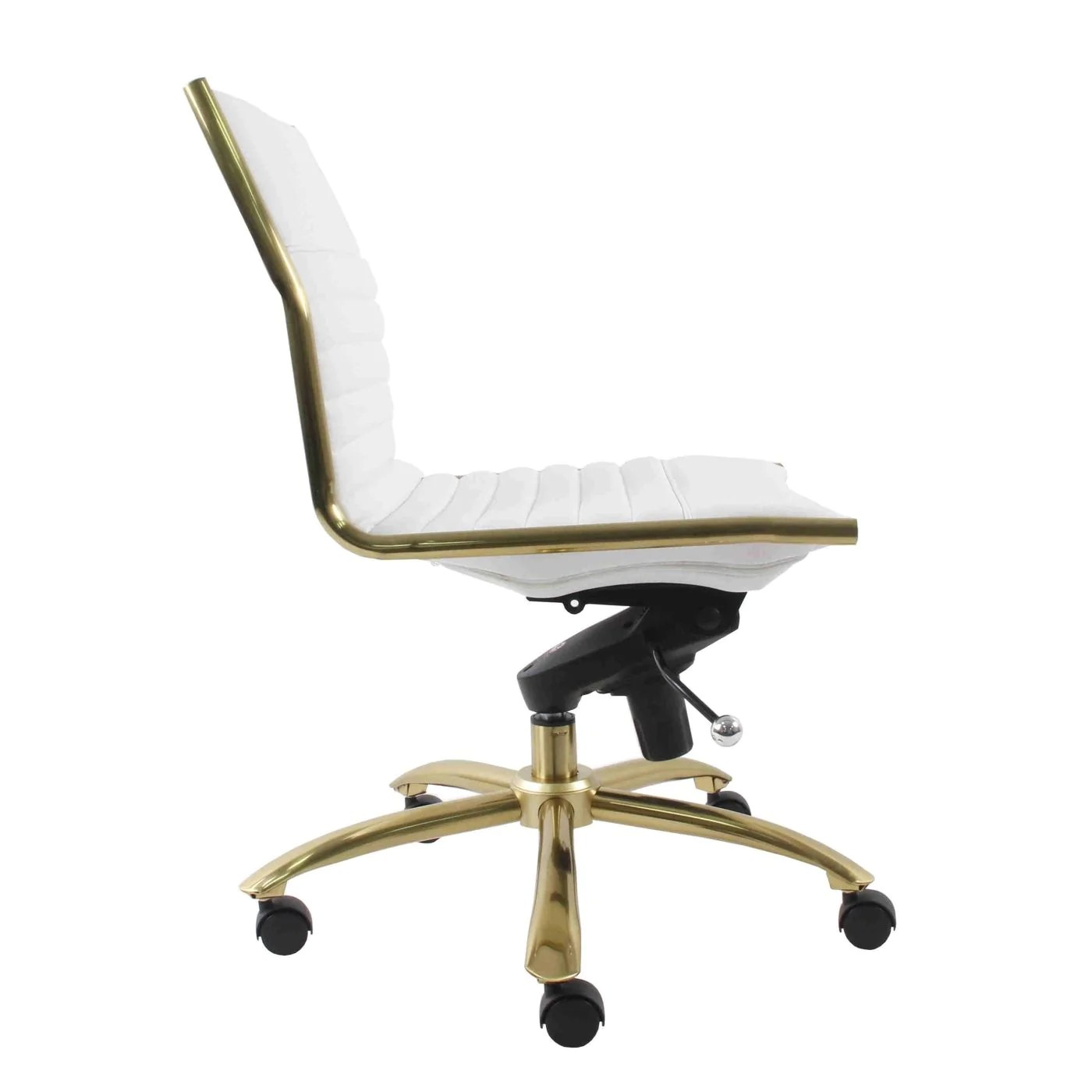 White And Gold Desk Chair Buy Euro Style Euro 10676wht Dirk Armless Low Back Office