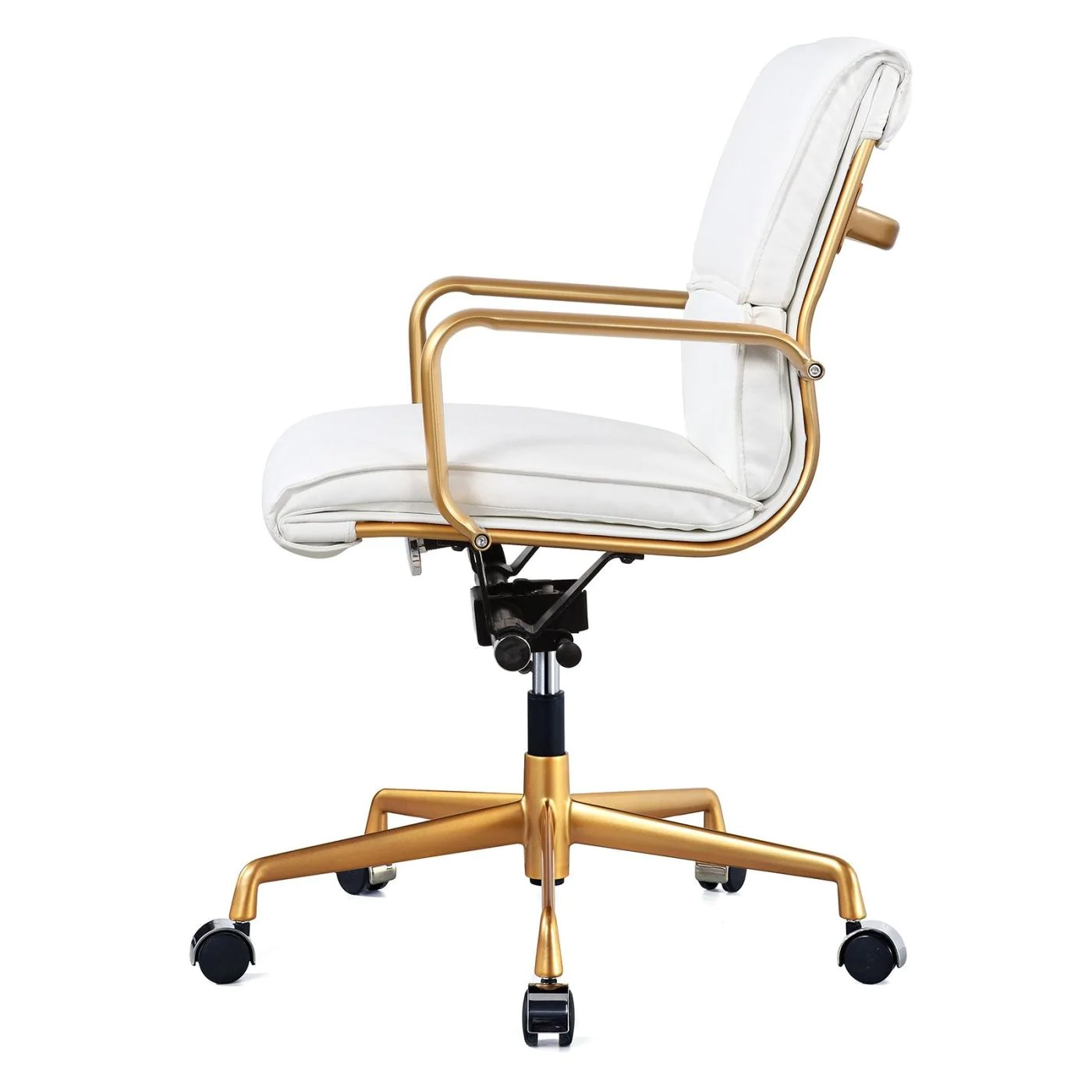 White And Gold Desk Chair Meelano 330 Gd Whi Office Chair In Gold And White Vegan