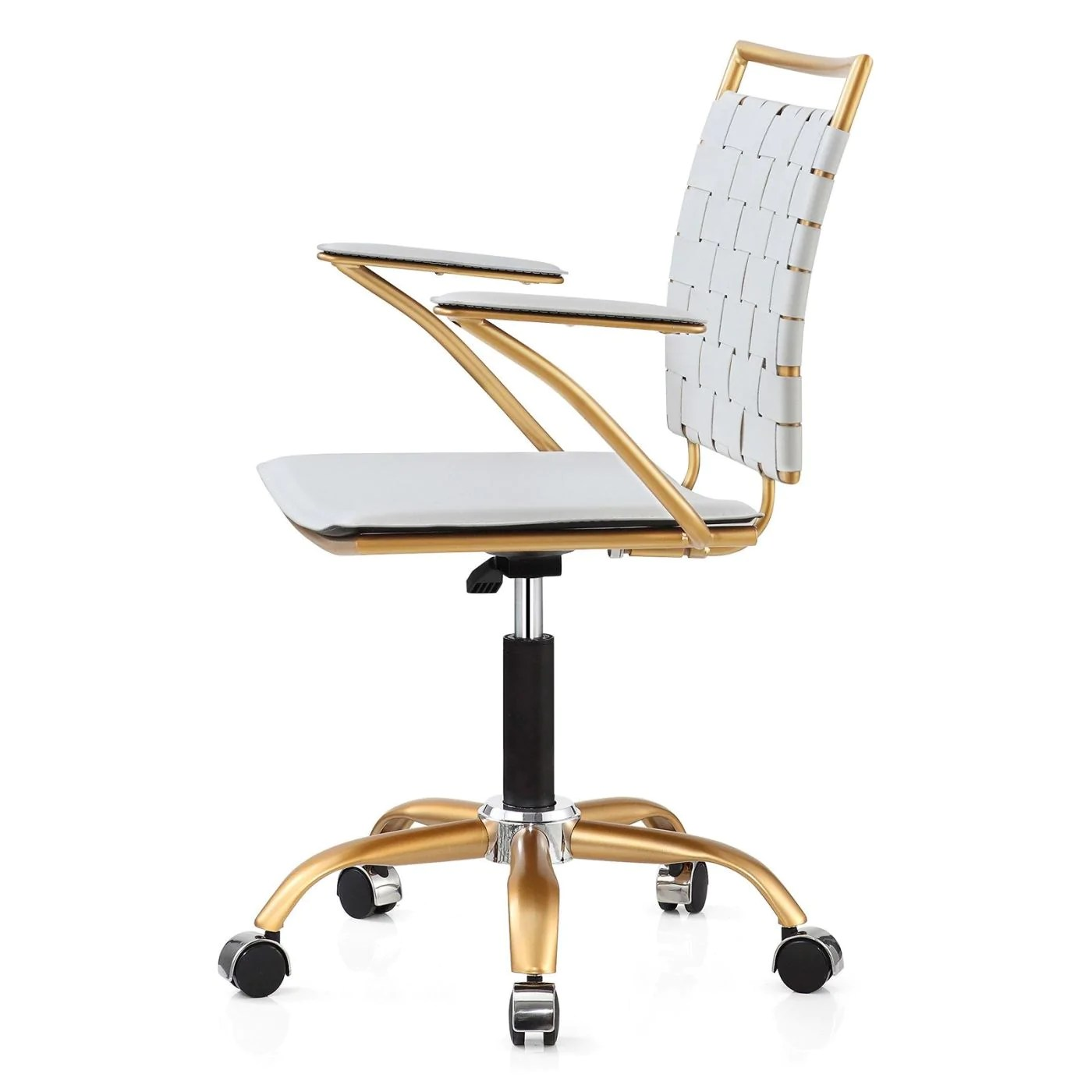 White And Gold Desk Chair Amazing Deal On Meelano 356 Gd Whi Office Chair In Gold