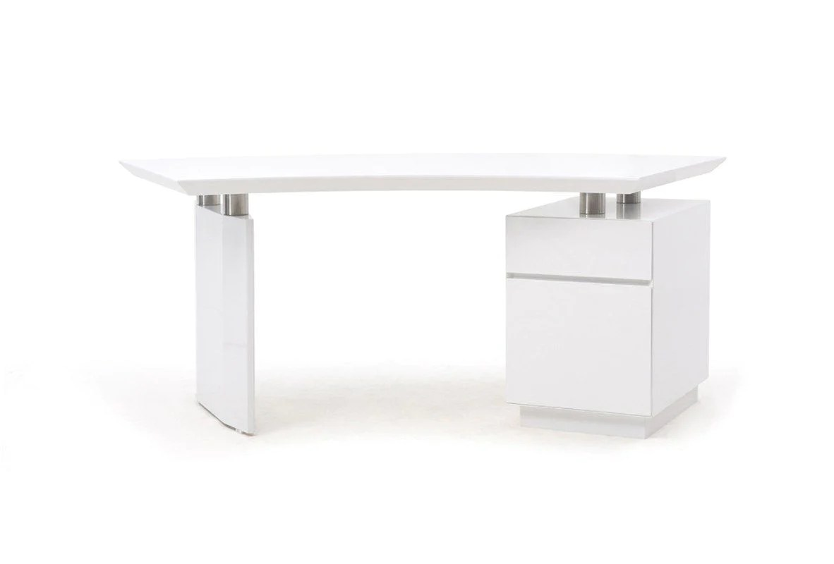 White Office Desk Modrest Stanford Modern White Office Desk